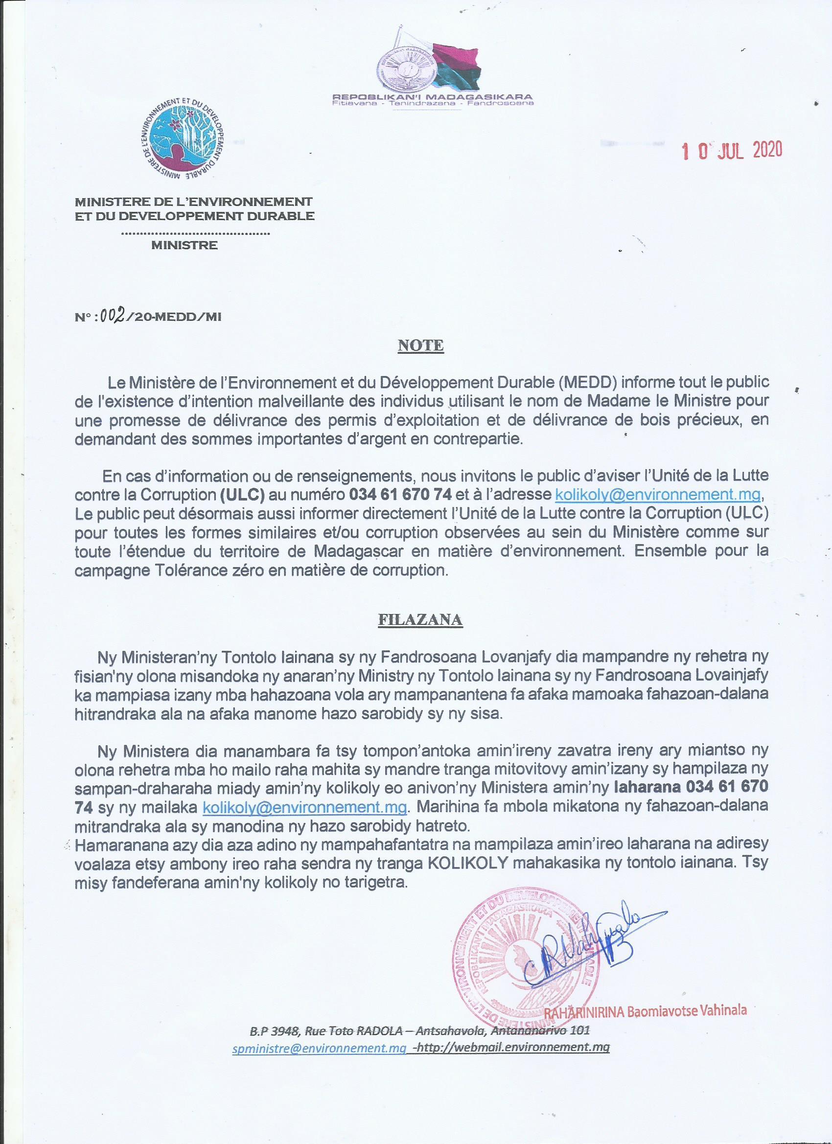 Mis en place de l'Unité de Lutte contre la Corruption au MEDD