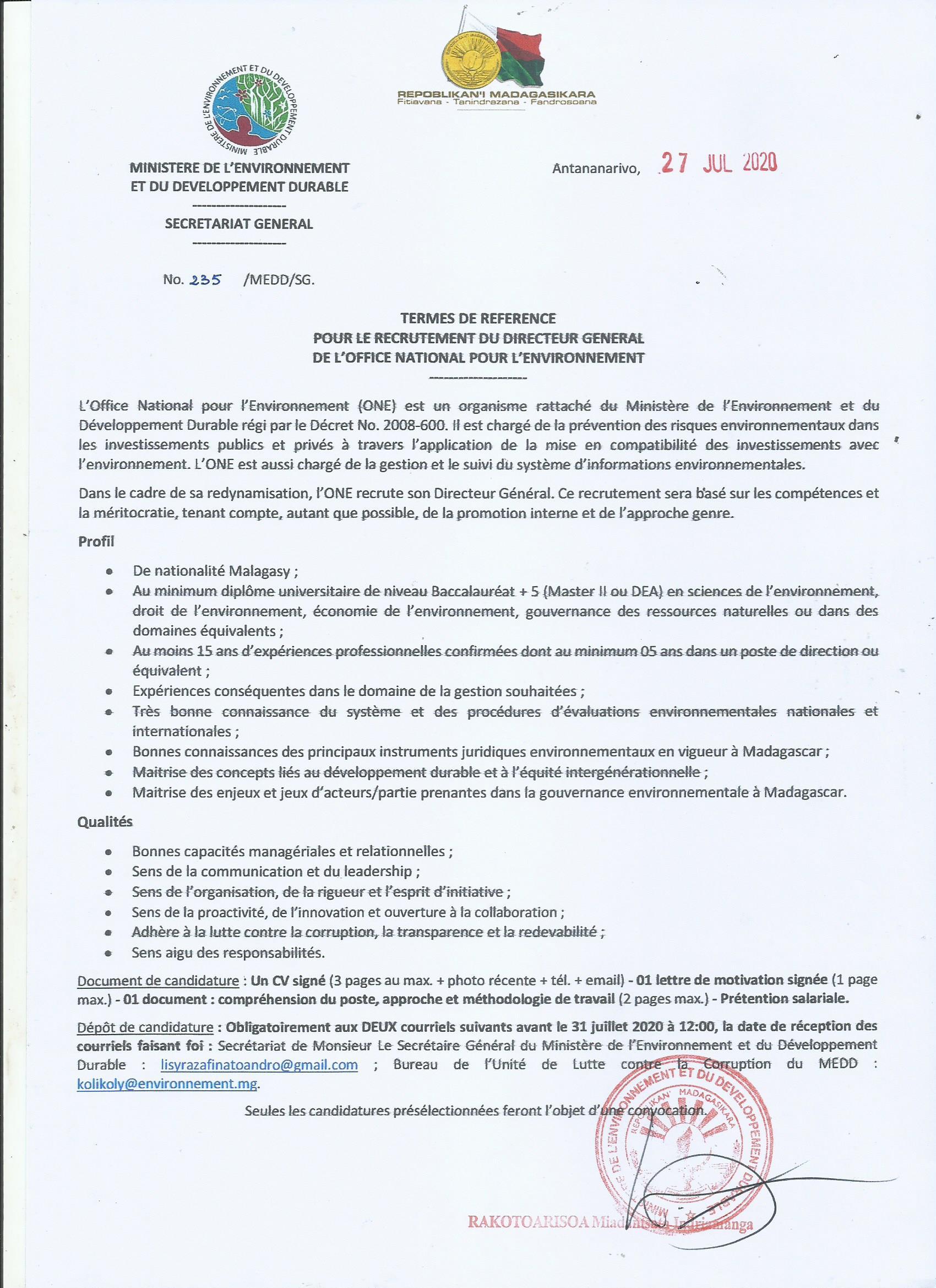 Termes de référence pour le recrutement du Directeur Général de l'Office National pour l'Environnement